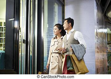店, 見る, 窓, 恋人, アジア人