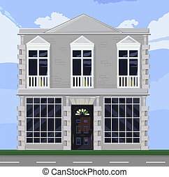 店, 詳しい, ファサド, facade., オフィス, 家, ブティック, windows., rentals., ベクトル, 建築, vector., 大きい, 前部, 白, イラスト, ∥あるいは∥, 店