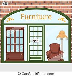 店, 詳しい, 建物, ベクトル, brick., ファサド, design., 家具, illustration.