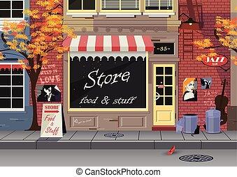 店, 都市, 古い, autumn., 通り, 小さい