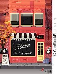 店, 都市, 小さい, 通り, 古い