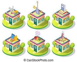 店, 都市, 等大, セット, 建物, ベクトル, アイコン