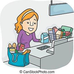 店, 食料雑貨, 自己, 女の子, チェックアウトしなさい