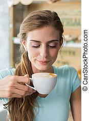 店, 飲むこと, 女, コーヒー