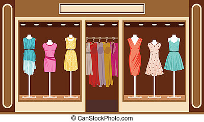 店, boutique., 衣類, 女性