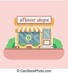 店, facade., ベクトル, 花, イラスト