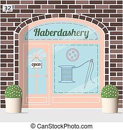 店, facade., haberdashery