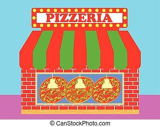 店, pizzeria, ∥あるいは∥, イラスト, ピザ