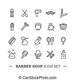 店, set., ベクトル, 理髪師, 薄いライン, アイコン