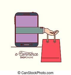 店, smartphone, 買い物, 保有物袋, 手, インターネット商業, 背景, オンラインで, 白