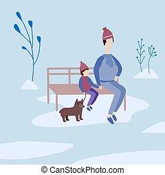 座りなさい, outdoor., 父, ベンチ, park., 息子