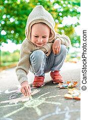 座る, 太陽, 日, 年, 秋, 心配, 黄色, カラフルである, 図画, クレヨン, わずかしか, 創造性, 養育, 引く, 暖かい, nature., 3-5, 子供, 古い, 男の子, 衣服, 舗装, children.