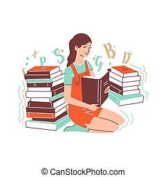 座る, 彼女, ひざ, 女の子, 手掛かり, 本を 開けなさい