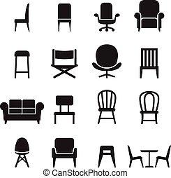座席, セット, &, アイコン, イラスト, ベクトル, 椅子