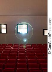 座席, 劇場, プロジェクター, 空