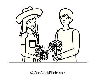 庭師, 恋人, 特徴, avatar, 微笑