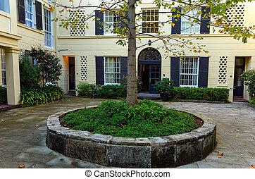庭院, 在中, 老, 古典, 公寓块, 在中, 悉尼