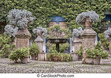 庭院, 在中, cordoba, spain., hdr