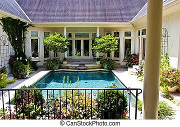 庭院, 池, 過去, 院子