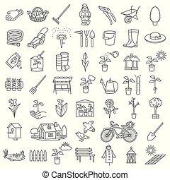 庭, アイコン, 道具, セット