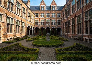 庭, アントワープ, 中庭, マニキュアをされた, 横, ヨーロッパ