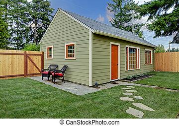 庭, ゲスト家, 背中, 小さい, 緑, オレンジ