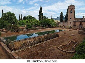 庭, スペイン, グラナダ, alhambra