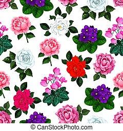 庭, パターン, seamless, ベクトル, 花束, 花