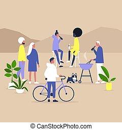 庭, パーティー, millennials, 収集, ブロック, 一緒に, life., 裏庭, 共同体, 現代