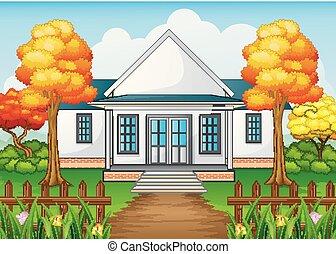 庭, フェンス, 木製の家, 秋, 緑, 季節, 漫画