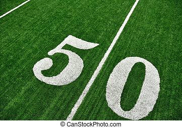 庭, フットボール, 50, フィールド, アメリカ人, の上, 線, 光景