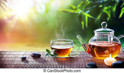 庭, リラックスしなさい, お茶, -, 暑い, ティータイム, 禅