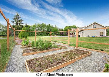 庭, リーセン, 囲われる, ベッド, 小さい, 野菜, 裏庭