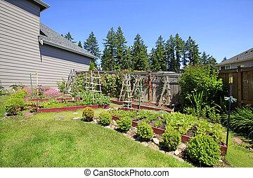 庭, リーセン, 囲われる, ベッド, 小さい, backyard., 野菜