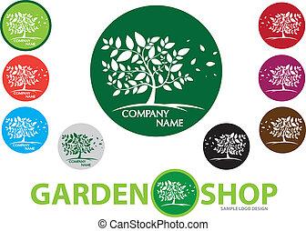 庭, -, ロゴ, デザイン, 木, v, 会社