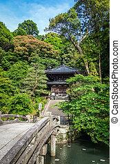 庭, 京都, chion-in, 池, 日本, 寺院, 橋