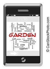 庭, 単語, 雲, 概念, 上に, touchscreen, 電話