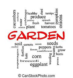 庭, 単語, 雲, 概念, 中に, 赤, 帽子