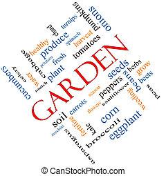 庭, 単語, 雲, 概念, 斜め