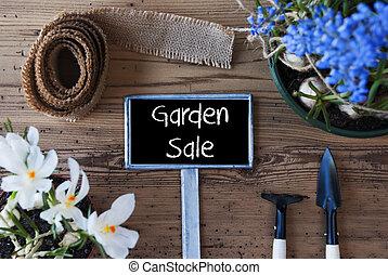 庭, 印, 春, セール, 花, テキスト