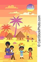庭, 家族, アフリカ, 出費, 時間, 屋外で