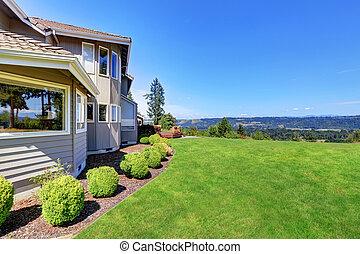 庭, 家, 贅沢, 外面, 草, 満たされた, 低木