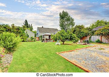 庭, 庭, 区域, 背中, 中庭, 草, 満たされた
