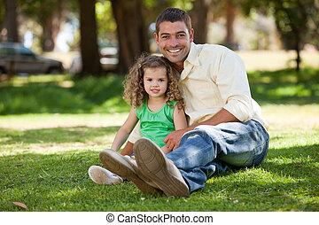 庭, 彼の, 娘, 父, モデル