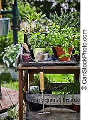 庭, 料理の, 仕事, ハーブ, テーブル, potted