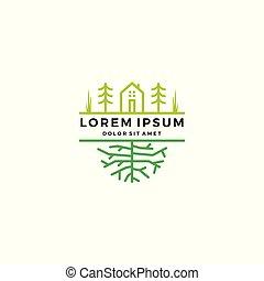 庭, 木, 緑, 家, ロゴ, 根