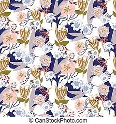 庭, 混沌としている, pattern., seamless, ベクトル, 花