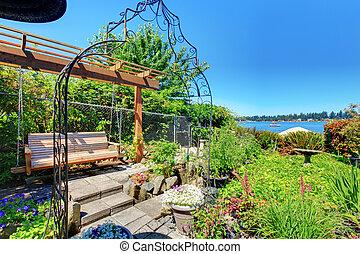 庭, 私用, ベンチ, lake., 振動, 家