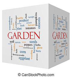 庭, 3d, 立方体, 単語, 雲, 概念