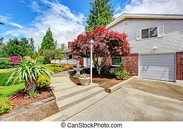 庭, trim., 壁, 家の 外面, 前部, れんが, 風景